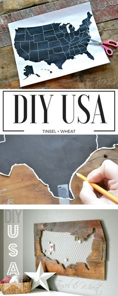 DIY barn wood USA. Use old barn wood, chicken wire, and a scroll saw to create this fun piece!