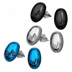 """Spread the love around with these adorable Stainless Steel Oval shaped earrings, inscribed with the word """"Love"""". Your choice of either black, silver, or blue or grab all three! These earrings make the perfect addition to any wardrobe."""