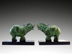 Louis-Albert Carvin French Art Deco Elephant Bookends 1930