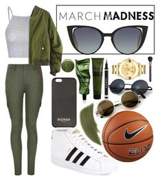 """""""March Madness: High Tops"""" by anisa-isaac ❤ liked on Polyvore featuring MAC Cosmetics, Glamorous, Ally Fashion, adidas, NIKE, Balmain, Aesop, By Terry, Jin Soon and Movado"""
