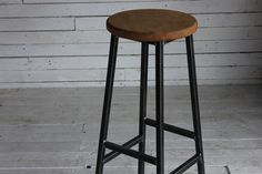 Industrial Steel and Oak Barstool  $144  --  Hand Made