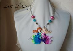 Necklace fimo mermaid friends polymer clay by Artmary2 on Etsy, €30.00