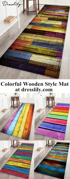 50% OFF!Colorful Wooden Board Print Flannel Skidproof Area Mat. - Brings a cozy atmosphere to your space - The mat is built with soft flannel, which makes it possible to absorb water quickly - Slip-resistant back prevents slipping off the mat and is also suitable for rooms with underfloor heating - Easy cleaning and maintenance #bathrug#mats#homedecor#dresslily
