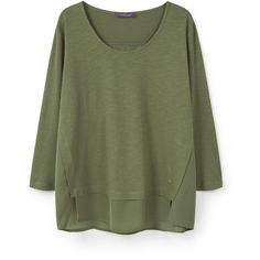 Cotton Modal-Blend T-Shirt (730 MXN) ❤ liked on Polyvore featuring tops, t-shirts, side slit tee, long sleeve tees, long sleeve tops, green top and side slit top