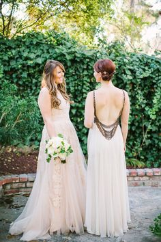 Reem Acra wedding dress   ABS by Allan Schwartz bridesmaid dress   Photo by Birds Of a Feather   Read more - http://www.100layercake.com/blog/?p=68105