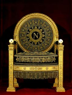 Napoleon's throne? Napoleon who? N is for Natalie. Chateau De Malmaison, La Malmaison, French Furniture, Antique Furniture, Napoleon Josephine, Empress Josephine, Royal Throne, French History, Elements Of Design