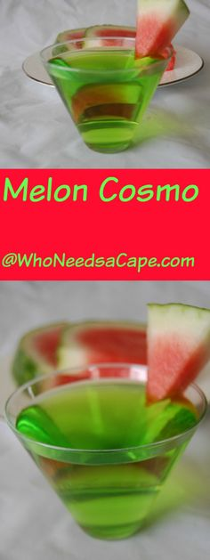 Melon Cosmo the perfect summer cocktail! Liquor Drinks, Vodka Drinks, Cocktail Drinks, Cocktail Recipes, Beverages, Drinks Alcohol, Drink Recipes, Spiced Rum Drinks, Girls Night Drinks