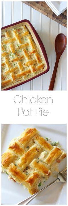 I make Chicken Pot Pie all the time but I like how this one is prepared (the crust) - especially if making and delivering for a friend in need. Chicken Pot Pie with three shortcuts to make it quick and easy! Think Food, I Love Food, Good Food, Yummy Food, Turkey Recipes, Chicken Recipes, Chicken Meals, Great Recipes, Favorite Recipes