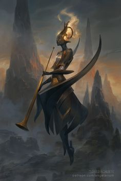 Israfel - Angel of Song by PeteMohrbacher trumpet female demon devil fire wings monster beast creature animal | Create your own roleplaying game material w/ RPG Bard: www.rpgbard.com | Writing inspiration for Dungeons and Dragons DND D&D Pathfinder PFRPG Warhammer 40k Star Wars Shadowrun Call of Cthulhu Lord of the Rings LoTR + d20 fantasy science fiction scifi horror design | Not Trusty Sword art: click artwork for source