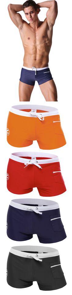 Swimming Beach Shorts for Men : Swim Trunks /  Low Waist / Zipper Pocket