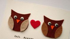 Cartoline di San Valentino: i gufi innamorati