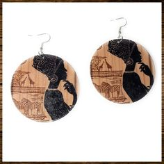 Wooden Earrings Ethnic Women Tribal Jewelry, Boho Jewelry, Women Jewelry, Round Earrings, Women's Earrings, Wooden Earrings, African Map, Round Pendant, Fashion Earrings