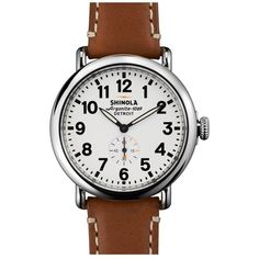 Shinola 'The Runwell' Leather Strap Watch, 41mm ($550) ❤ liked on Polyvore featuring jewelry, watches, american jewelry, hand crafted jewelry, steel watches, handcrafted jewelry and american watches