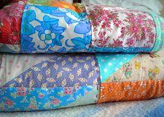 closeup - handstitched patchwork quilt