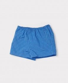 SS'16 Mastic Swimshort, Cerulean Gingham, Caramel Baby & Child.