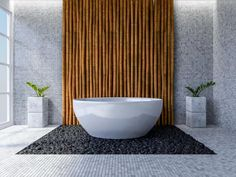 Bamboo Poles used in modern bathroom for a touch of nature. Bamboo Poles For Sale, Bamboo Panels, Bamboo Wall, Bamboo Fence, Bamboo Bathroom, Natural Bathroom, Modern Bathroom, Zen Bathroom, Master Bathroom