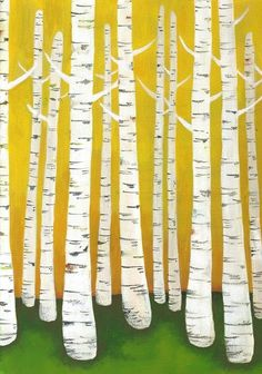 Large Birch Tree Forest Archival Print by lisacongdon on Etsy