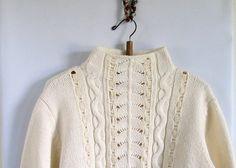 Vintage  1970s Cableknit Wool Sweater Turtleneck by vintachi, $12.00