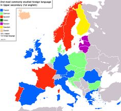 The most common foreign language in Europe (except English).