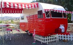 1957 vintage Shasta. Love the red and white