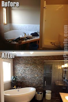 Home Remodel On A Budget Artificial stone panels allow you to create dramatic bathroom makeover ideas.Home Remodel On A Budget Artificial stone panels allow you to create dramatic bathroom makeover ideas. House Design, House, Home Projects, House Design Photos, Bathroom Makeover, Home Remodeling, Cheap Home Decor, Manufactured Home, Remodeling Mobile Homes