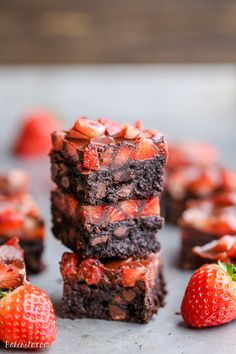 Whoa - our mouths are watering over this paleo recipe for Chocolate Covered Strawberry Brownies. Delicious. | Bakerita