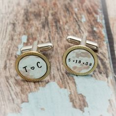 Men's Cuff Links Sterling Silver and Brass Hand Stamped Personalized Groom Gift Wedding Day #FathersDay #WeddingDayGift #GroomsGift #FatherOfTheBride #BestManGift #GroomsMenGift #GiftsForHim #CuffLinksSet #MensGift #Personalized