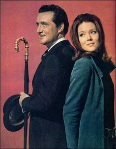 THE AVENGERS: John Steed and (Mrs.) Emma Peel, Patrick Macnee and Diana Rigg.