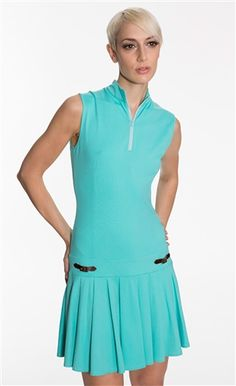 Leah II turquoise golf dress with drop waist | High fashion golf clothing for women