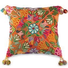 Orange Flowers Pillow Item # 10769  Crow's Nest Exclusive.  Glorious blooms embroidered on golden orange cotton with pompoms at the corners http://www.crowsnesttrading.com/product/15077/rugs_pillows