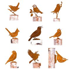Rusty Birds Silhouette Rustic Metal Art  - Lot of 9 - One Each