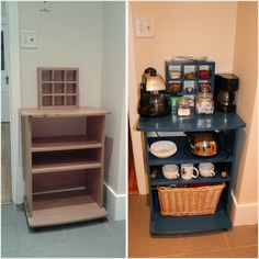 DIY coffee bar from a microwave cart and random garbage finds....