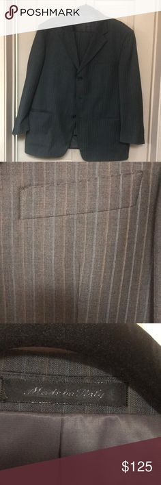 Dark Gray Italian Pinstripe Suit This is an AMAZING suit. Made in Italy. 100% wool. Pants are a 38x30 and Jacket is a 44 short. mantoni Suits & Blazers Suits