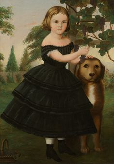c. 1860 folk Portrait of a Girl and Her Dog in a Grape Arbor, collection of Crystal Bridges Museum of American Art