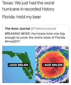 To be clear the funny part is joke not the hurricane, hurricane bad