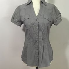 Express Essential Stretch Shirt- Sm Awesome light grey button down! Cotton/ poly/ spandex blend- excellent condition Express Tops Button Down Shirts