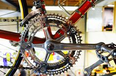 Campagnolo Nuovo Record on an official Eddy Merckx Molteni team bike from the 1970's. Chainrings are carefully drilled out to save weight.