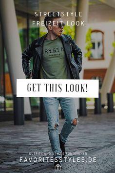 Erfahre welche Teile dazu passen! Casual Outfit für Männer. Streetstyle Look mit Jeanshose, T-Shirt, Lederjacke und Chelsea Boots. Cooles Outfit für die Freizeit, passend für den Frühling. Outfits für Männer mit passenden Teilen bei Favorite Styles. #favoritestyles #mode #fashion #outfit #männer #herren #style #stil #männermode #herrenmode #mensoutfit #mensfashion #ideen #inspiration #streetstyle #casual #rustikal #lässig #freizeit #lederjacke #j