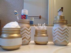 Country Chic Mason Jar Bathroom Set // Mason Jar Soap Dispenser // Country Chic on Etsy, $23.00