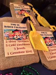 Jake and the Neverland Pirates Party Treasure Hunt in our sandbox!