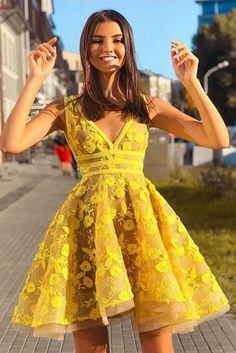 Unique V Neck Lace Appliques Yellow Short Prom Dresses Homecoming Dresses, Yello. - Unique V Neck Lace Appliques Yellow Short Prom Dresses Homecoming Dresses, Yellow Lace Formal Dresses, Graduation Dresses, Evening Dresses Source by - Yellow Homecoming Dresses, Yellow Evening Dresses, Yellow Lace Dresses, Hoco Dresses, Cheap Evening Dresses, Prom Party Dresses, Cheap Dresses, Formal Dresses, Graduation Dresses