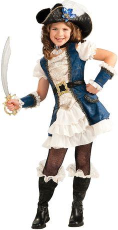 blue pirate girl child costume | small (4/6)