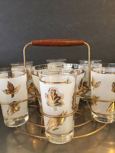 Vintage Libbey Gold Leaf Caddy Ice Bucket 6 Glasses Mid