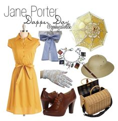 """Jane Porter: Disney Dapper Day"" by cayleneey ❤ liked on Polyvore featuring Frye, POL, Fendi, disney, disneybound, Tarzan, dapperday and JanePorter"