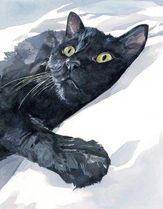 Black cat watercolor painting - Studio Tuesday Blog