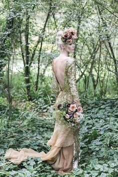 Gold Aje Liberty wedding dress   Lara Hotz Photography for Hooray Magazine with styling by Stefanie Ingram, beauty by Liv Lundelius Makeup Artist and floral design by Jardine Botanic Floral Styling   see more on: http://burnettsboards.com/2014/07/ophelia-enchanting-fashion-boudoir-editorial/