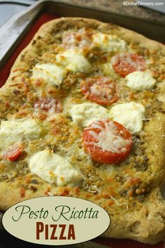 A delicious vegetarian pizza recipe for Pesto Ricotta Pizza ~ amazing flavor! | 5DollarDinners.com