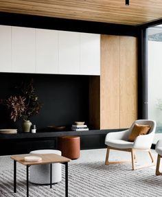 Clever use of colours and materials. Like white storage cupboards and the dark space.