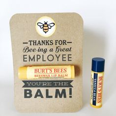 Thanks for Bee-ing a Great Employee... Youre the Balm!  Show gratitude to your hardworking employees this year with this thoughtful and practical gift! This card works great for Christmas, Birthdays, company events, or Employee/Secretary Appreciation Day. Simply print and cut the cards, and attach your favorite flavor of Burts Bees Lip Balm using double-sided sticky tape. Once you purchase this listing, a PDF file ready to print 4 high-resolution cards will be available for INSTANT…