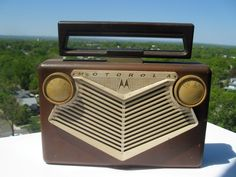 Vintage Motorola AM Portable Tube Radio in Brown and Cream - Circa 1950s. This is the exact radio I used to listen to my tunes in the early '60s. My grandpa gave me his old radio from the '50s but it worked perfectly.